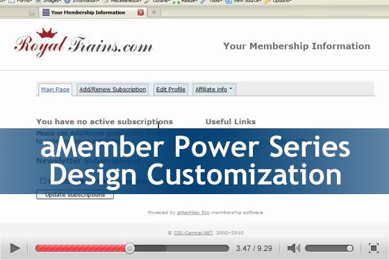 aMember Power Series: Design Customization